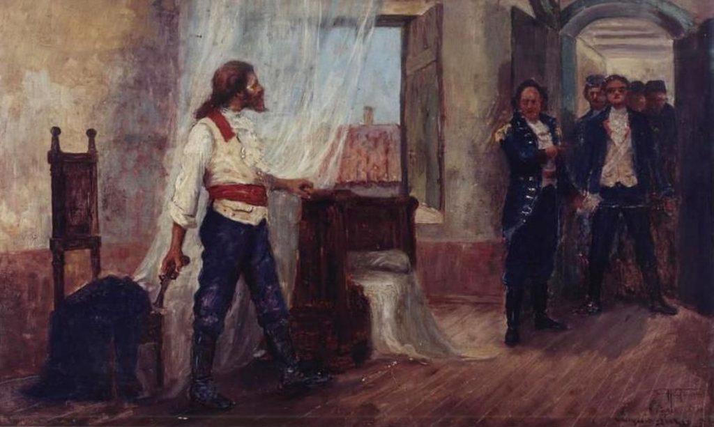 """Obra""""A Prisão de Tiradentes"""" pintada por Antônio"""